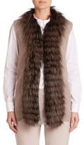 Peserico Fox Fur-Trim Ribbed Vest