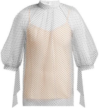 Erdem Nayla Polka-dot Tulle Blouse - Womens - White Multi