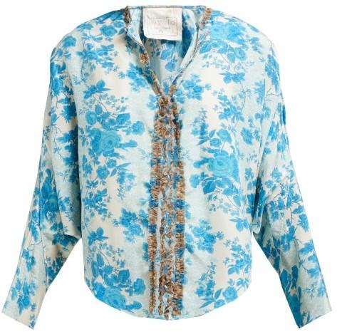 By Walid Iris Floral Print Silk Jacket - Womens - Blue Multi