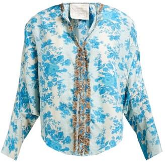 By Walid Iris Floral-print Silk Jacket - Womens - Blue Multi