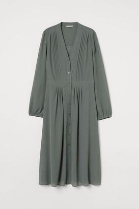 H&M Pin-tuck-detail Dress - Green