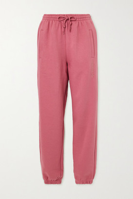 adidas Embroidered Cotton-blend Fleece Track Pants - Pink