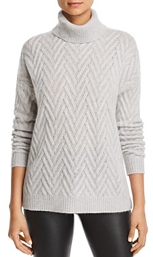 Bloomingdale's C By C by Herringbone Cashmere Turtleneck Sweater - 100% Exclusive