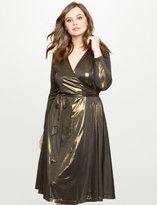 ELOQUII Plus Size Studio Lamé Wrap Dress