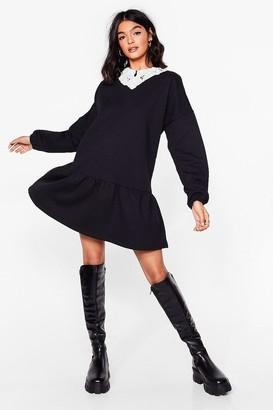 Nasty Gal Womens In Your Lace Sweatshirt Mini Dress - Black - 8, Black