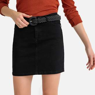 La Redoute Collections Denim Short Straight Skirt