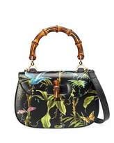 Gucci Bamboo Classic Tropical-Print Top-Handle Satchel Bag, Black/Multi