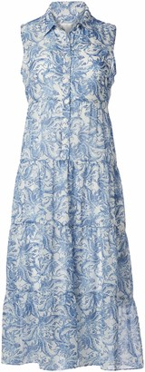 London Times Women's Printed Woven Sleeveless Fit and Flare