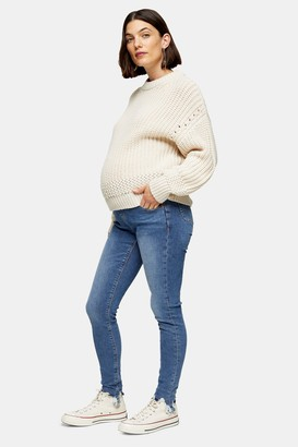 Topshop Womens **Maternity Mid Stone Under The Bump Jagged Jamie Jeans - Mid Stone