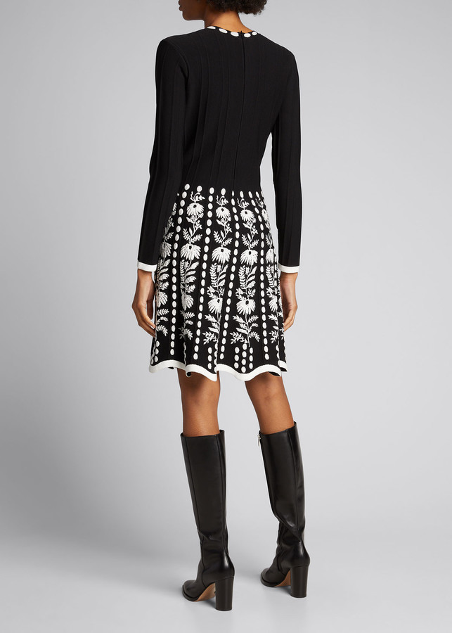 Thumbnail for your product : Lela Rose Floral Jacquard Skirt Knit Dress