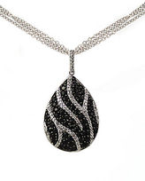 Lord & Taylor Black Sapphire and Diamond Necklace in Sterling Silver