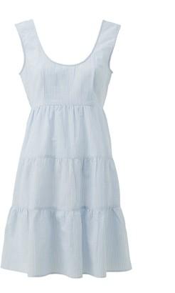 Very Tiered Cotton Sleeveless Mini Beach Dress - Stripe