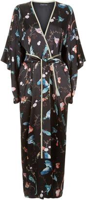MENG Black Silk Satin Full Length Lined Kimono