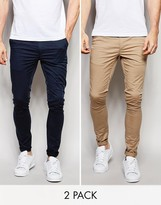 Asos 2 Pack Extreme Super Skinny Chinos In Navy & Stone SAVE