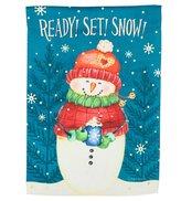 Evergreen Snowman & Snowflakes Indoor / Outdoor Garden Flag