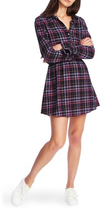 1 STATE L/S Button Up Plaid Shirtdress