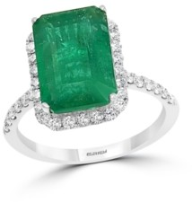 Effy Emerald (4 7/8 ct. t.w.) and Diamond (1/2 ct. t.w.) Ring in 14k White Gold