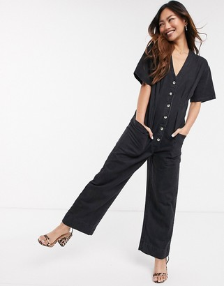 ASOS DESIGN soft denim relaxed boilersuit in washed black