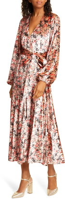 Rotate by Birger Christensen Beatrix Floral Wrap Midi Dress