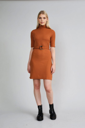 NATIVE YOUTH Rust Ruby Dress - S .