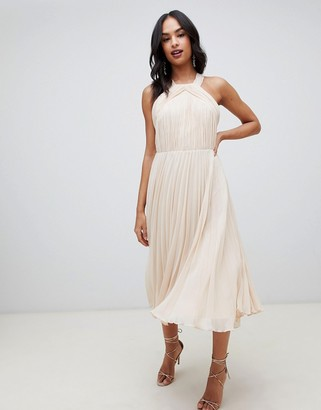 ASOS DESIGN pleated bodice halter midi dress
