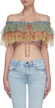 Zimmermann Carnaby' off shoulder floral print ruffled crop silk top