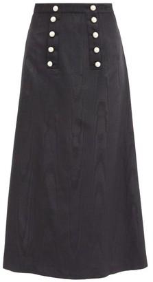 Batsheva Suffrage Faux-pearl Button Moire Midi Skirt - Black