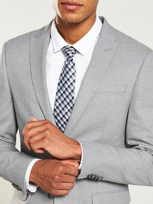 River Island Grey textured skinny suit jacket