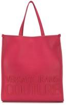 Versace logo print magnetic closure tote bag