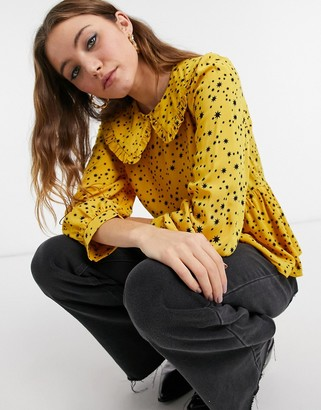 New Look frill collar blouse in yellow star print