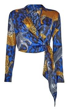 Dorothy Perkins Womens **Lola Skye Multi Colour Animal Print Wrap Shirt, Animal