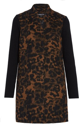 Kenneth Cole New York Leopard Rib Sleeve Double Face Coat