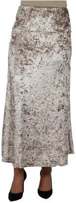 24Seven Comfort Apparel Women Taupe Velvet Maxi Skirt