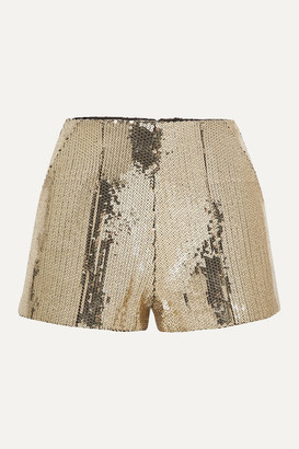Alex Perry Henderson Sequined Crepe Shorts - Gold