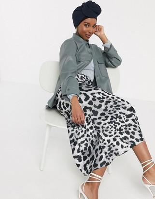 ASOS DESIGN satin bias maxi skirt in leopard print