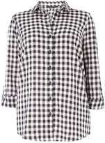 DP Curve Navy and White Gingham Shirt