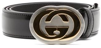 Gucci Logo-plaque Polished-leather Belt - Black