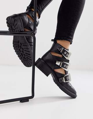 Asos Design DESIGN Antidote leather cut out chunky boots in black