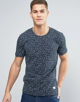 Minimum Johnston T-Shirt Floral Print Slim Fit in Navy