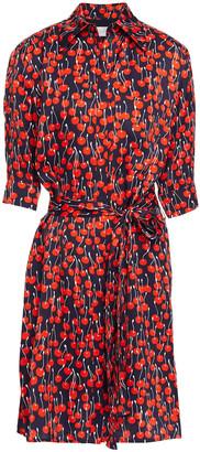 Victoria Victoria Beckham Belted Printed Satin Shirt Dress