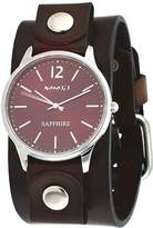 Nemesis DFBN252B Men's Signature Sapphire Dial Brown Wide Leather Band Watch