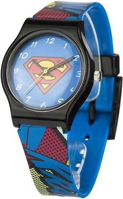 Dc Comics Superman Unisex Quartz Analogue Display Watch With Blue Dial And Multi-Colour Plastic Strap Sup4Dc