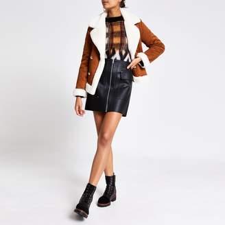 River Island Womens Black faux leather biker skirt