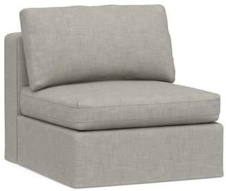 Pottery Barn PB Air Square Slipcovered Armless Chair - Premium Basketweave, Light Gray