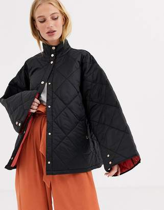 Gestuz Ray quilted sateen kimono style co-ord jacket-Black