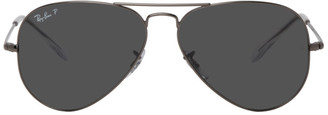 Ray-Ban Gunmetal 58 Flat Temple Aviator Sunglasses