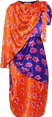 Prabal Gurung Layered Button-detailed Printed Silk-satin Dress