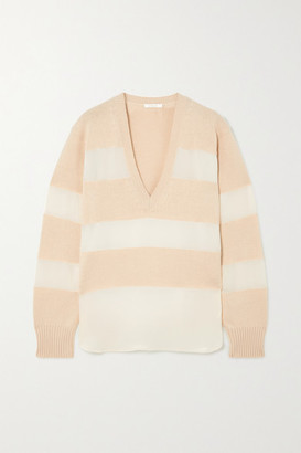 Chloé Striped Organza-trimmed Wool, Silk And Cashmere-blend Sweater - Beige