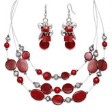 JCPenney MIXIT Mixit Red Bead Cluster Earring and 3-Row Illusion Necklace Set