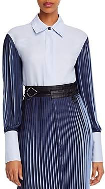 Yigal Azrouel Two-Tone Pleated-Sleeve Shirt